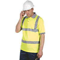 "Dickies N/A Hi-Vis Safety Polo Shirt Saturn Yellow X Large 48-50"" Chest"