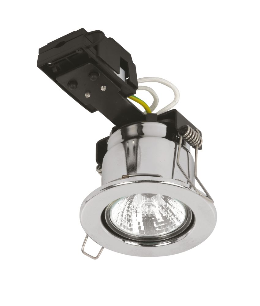 Sylvania Fixed Round Pol. Chr Mains Voltage Fire Rated Downlight 240V