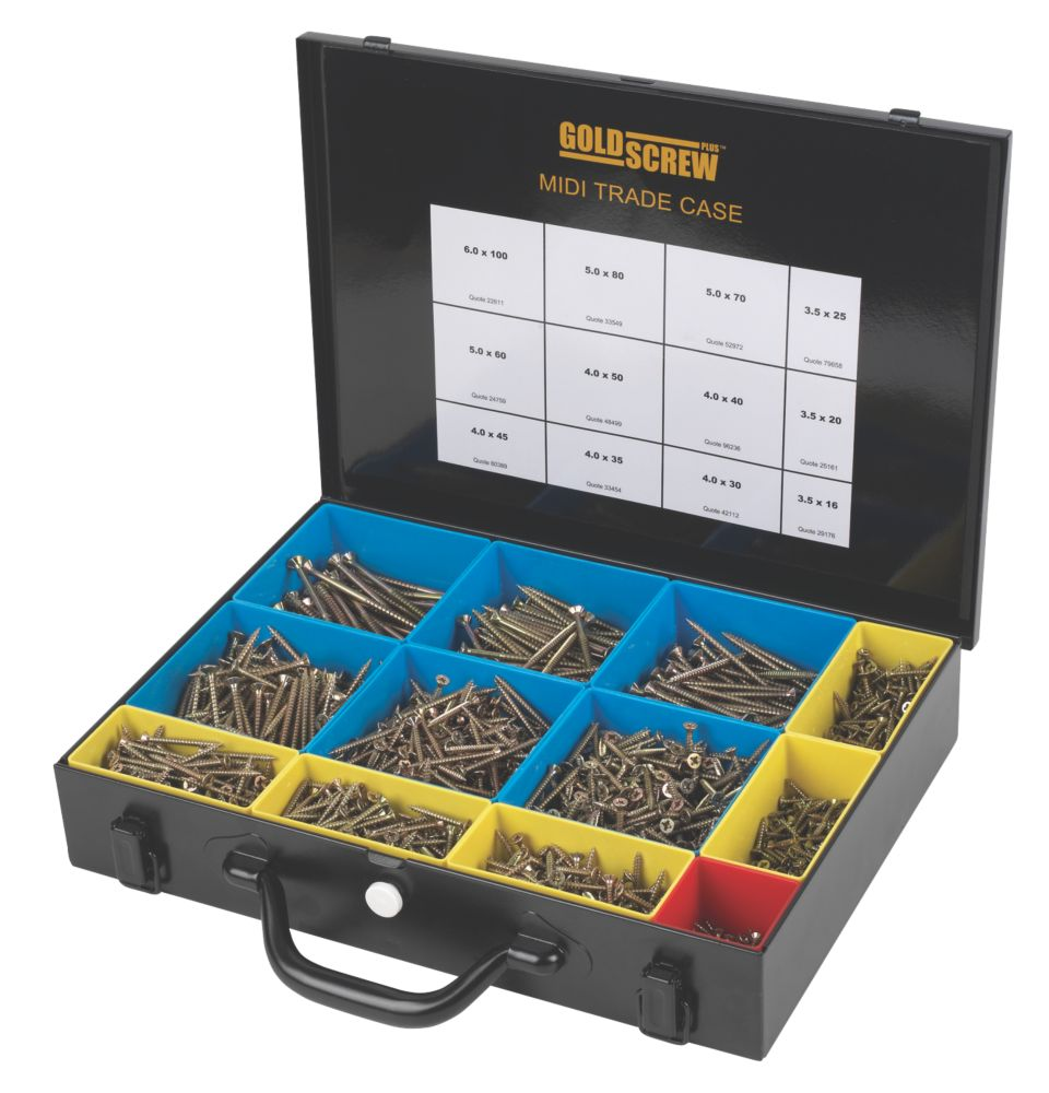 Goldscrew Plus Woodscrews Midi Trade Case 2000Pieces
