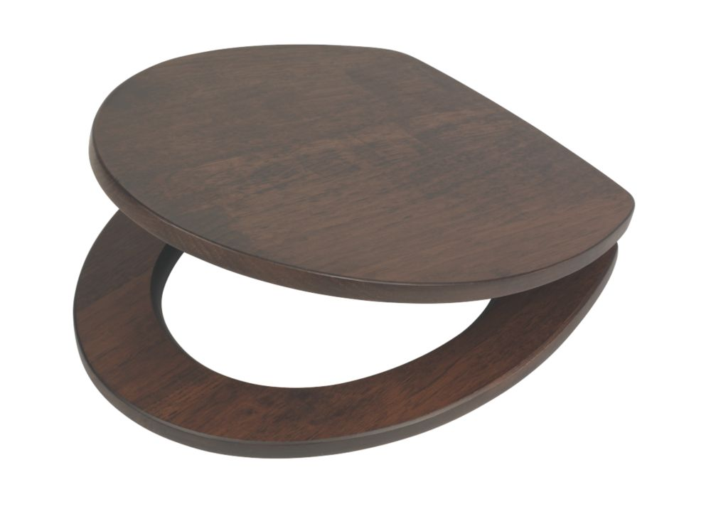 Swirl Soft-Close Toilet Seat Walnut