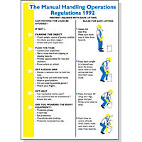 """Manual Handling Operations Regulations 1992"" Poster 600 x 420mm"