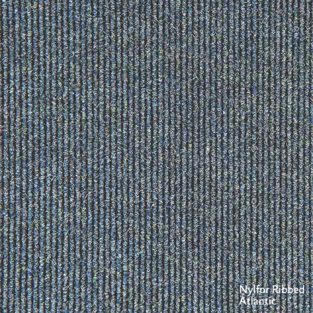 Interface Contract Ribbed Carpet Tiles Atlantic Pack of 20