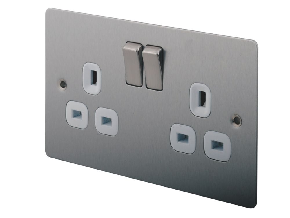 LAP 13A 2-Gang DP Switched Plug Socket Brushed Stainless Steel