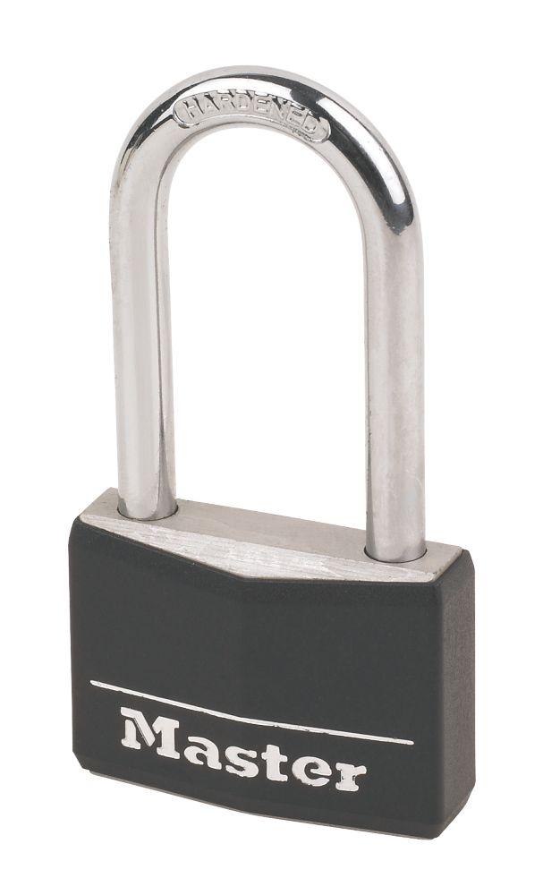 Master Lock Black Aluminium Padlock with Long Shackle 50mm