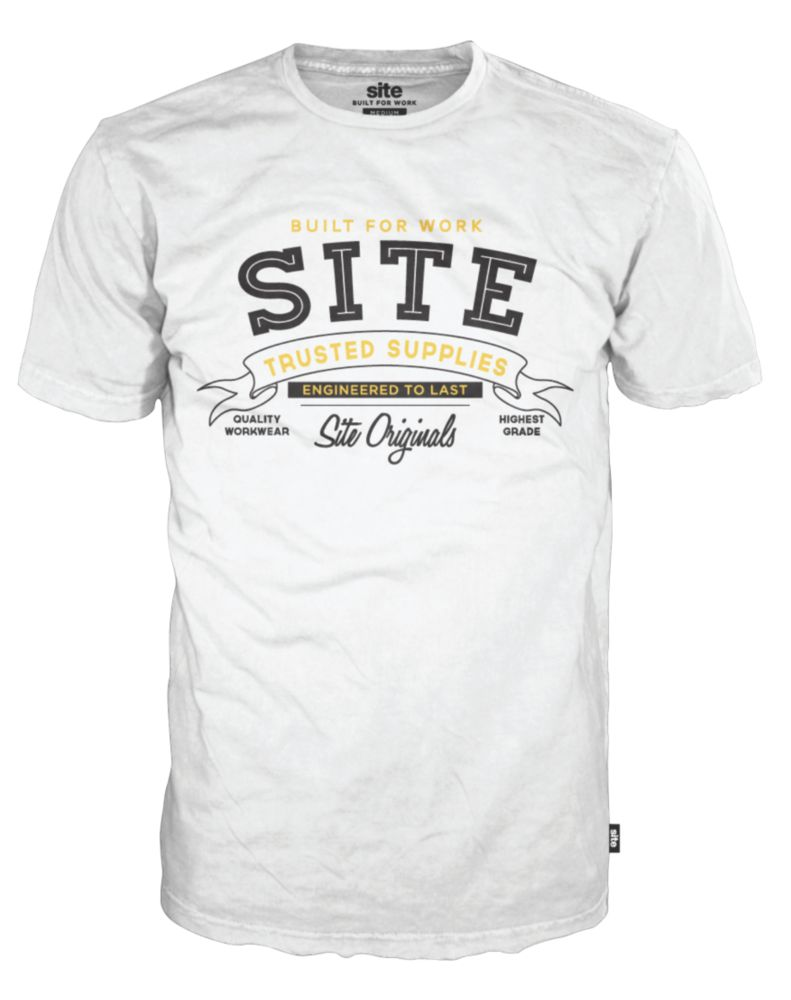 "Site Addict T-Shirt White Medium 39-42"" Chest"