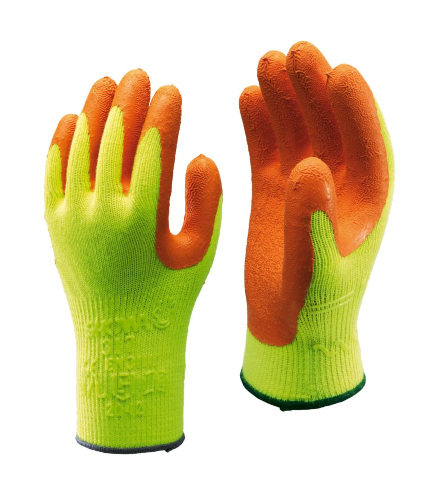 Showa Best 317 General Handling Hi-Vis Builders Gloves Orange/Yellow Large