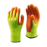 Showa  317 Hi-Vis Builders Grip Gloves Orange/Yellow Large