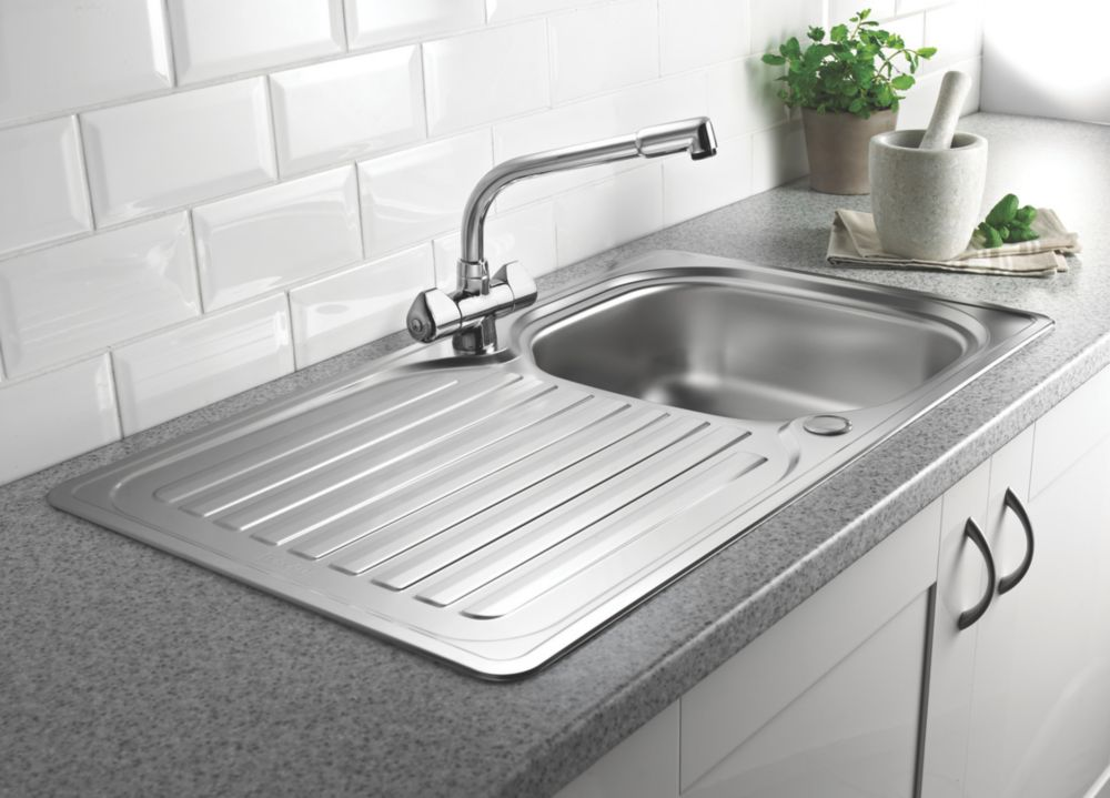 Franke 1 Bowl Inset Kitchen Sink with Reversible Drainer Stainless Steel
