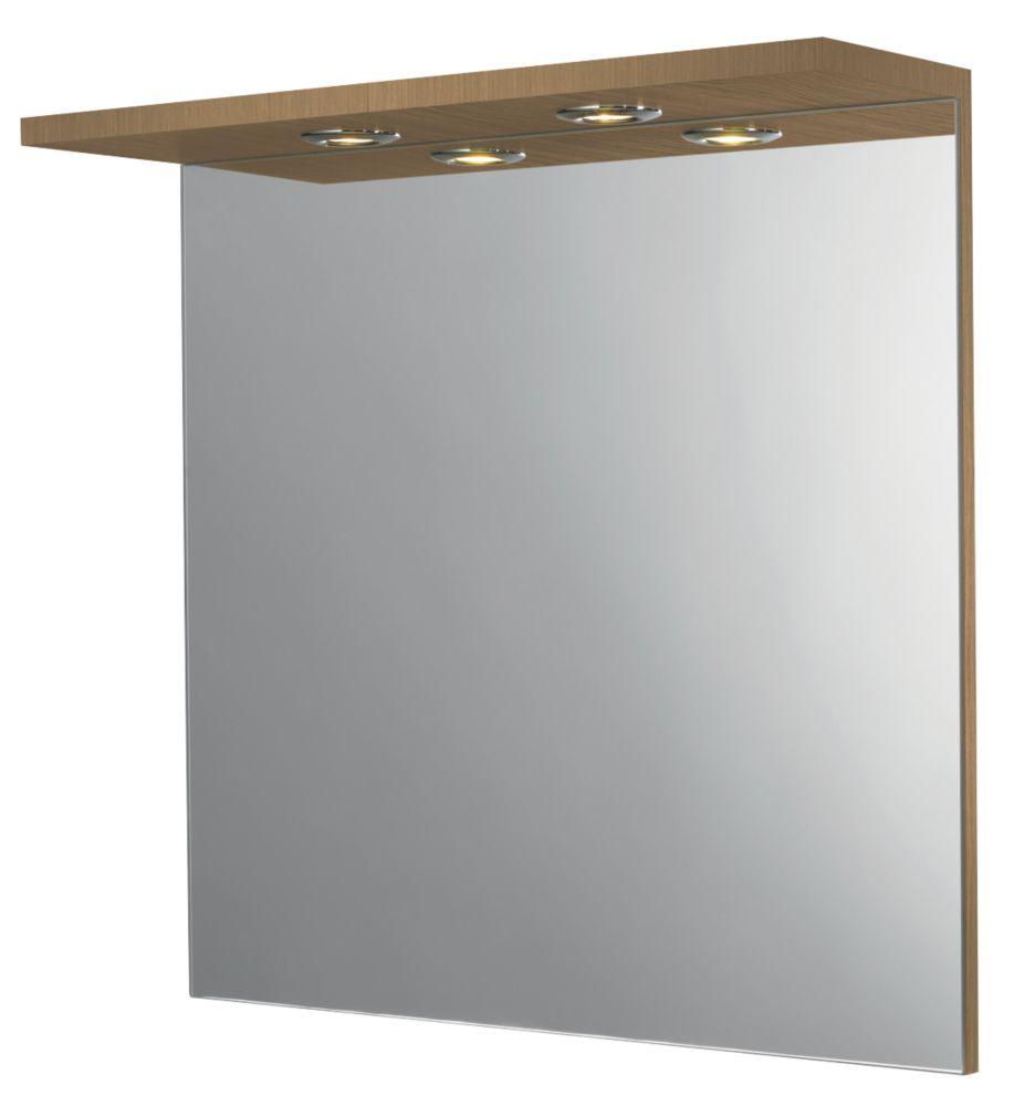 Bathroom Mirror & Light Canopy Oak Effect 600 x 180 x 600mm