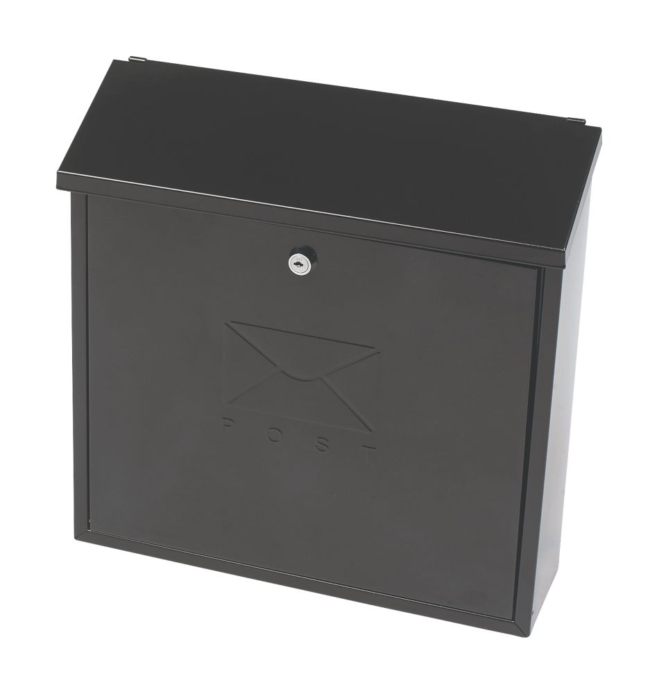Sterling Contemporary Post Box Black Powder Coated Steel