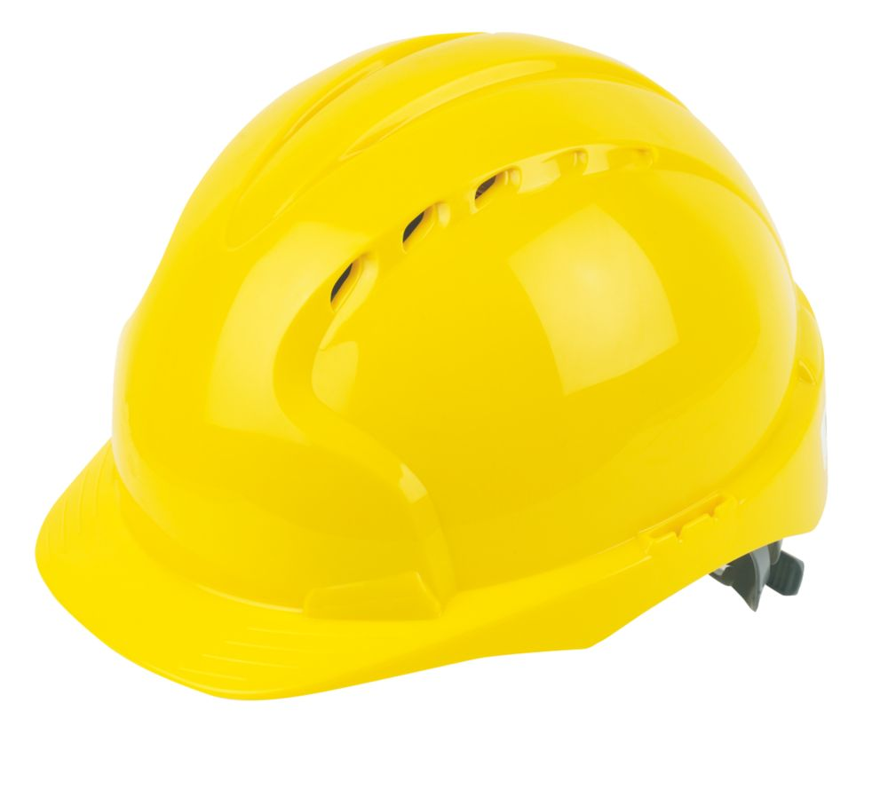 JSP EVO 2 Mid Peak Slip-Ratchet Vented Safety Helmet Yellow