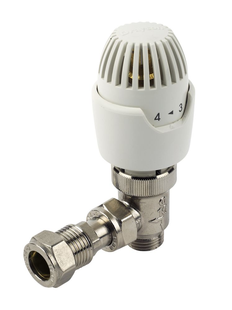 Drayton RT212 White & Chrome TRV 10mm Angled