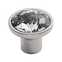 Carlisle Brass Crystal Round Furniture Knob Matt Satin Nickel 34mm