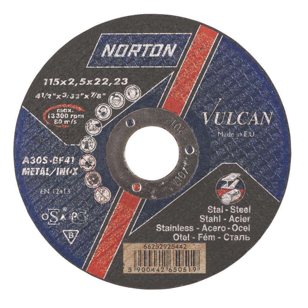 Norton Vulcan Metal Cutting Discs 115 x 2.5 x 22.2mm Bore Pack of 25