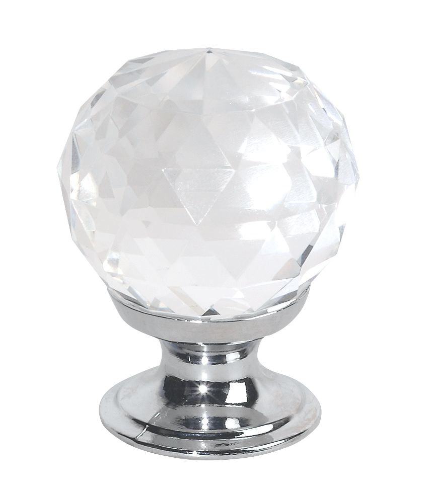 Traditional Knob Faceted Glass & Polished Chrome 30mm Pack of 2