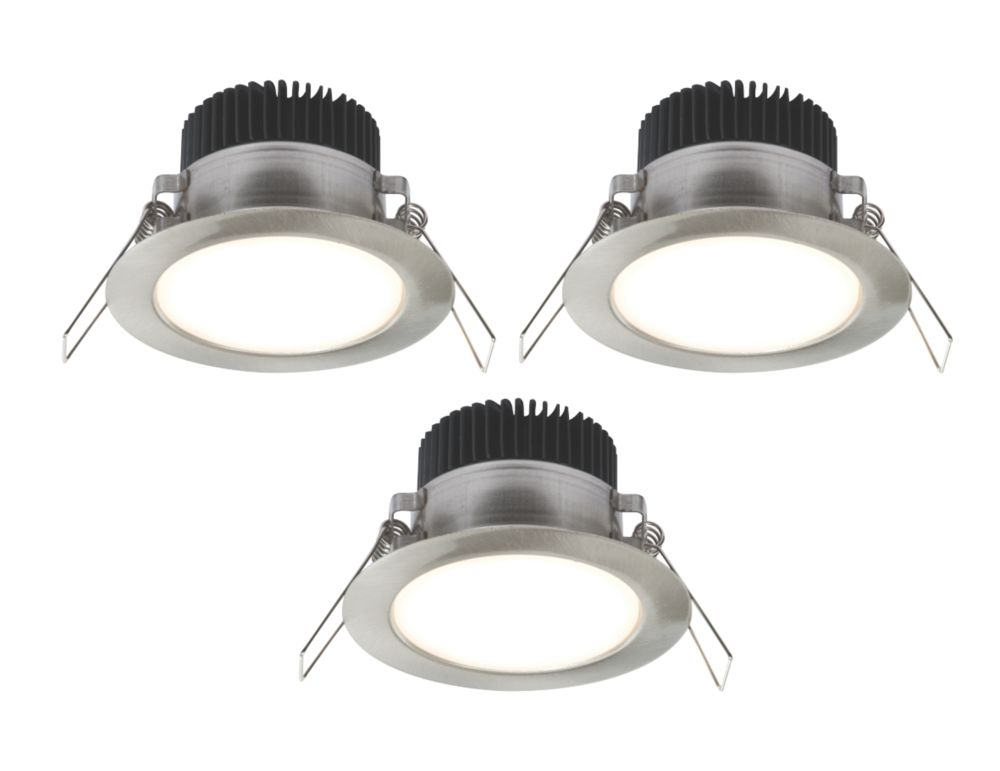LAP Fixed Round LED Downlight Kit Brushed Chrome 4.5W 240V Pack of 3