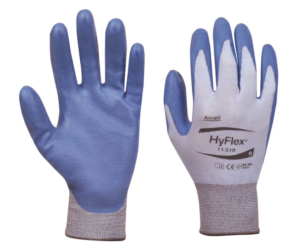 Ansell HyFlex 11-618 Cut-Resistant Ultralight Gloves Blue / Grey Large