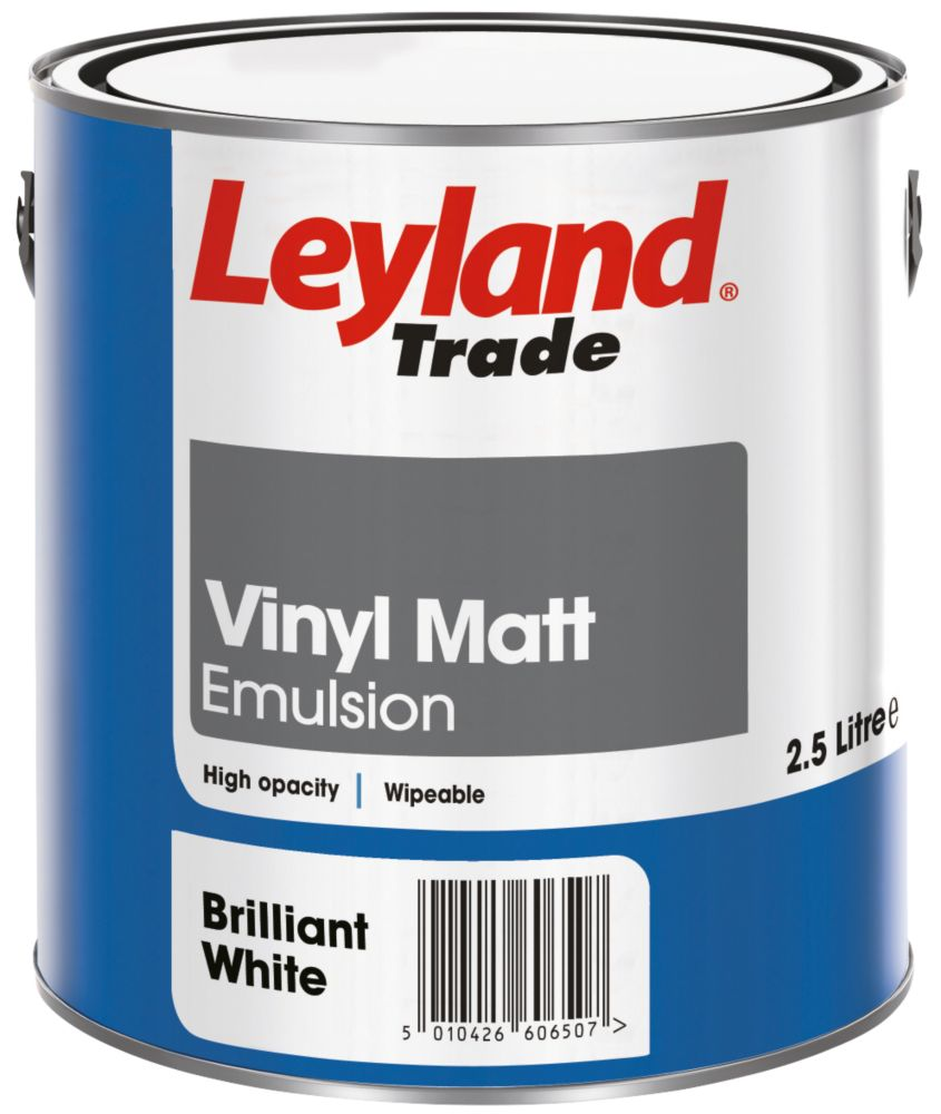 Leyland Vinyl Matt Paint Brilliant White 2.5Ltr