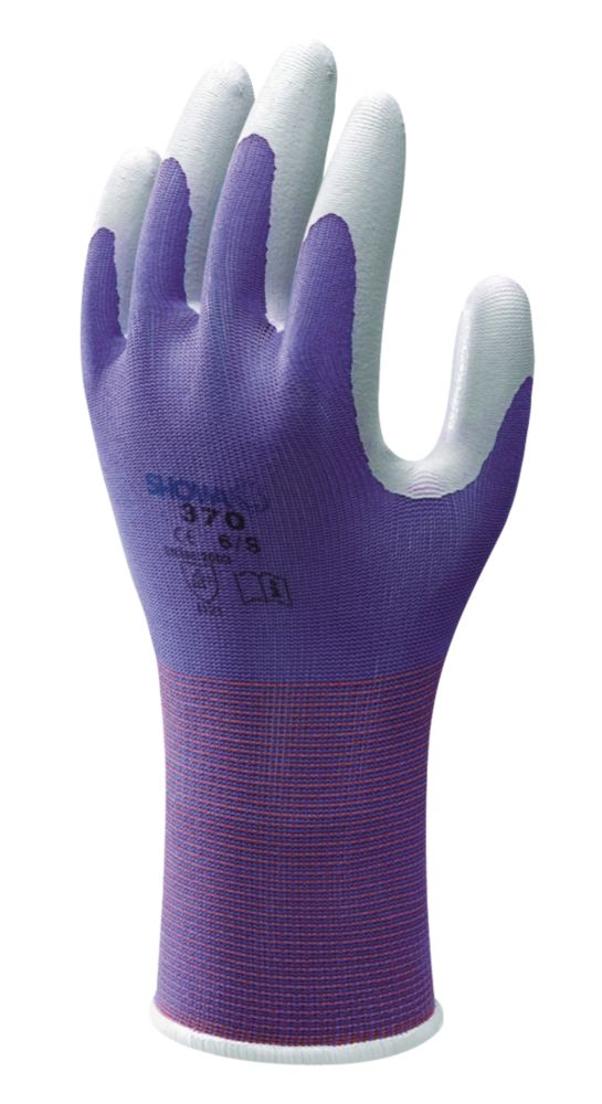Showa Best 370 Floreo Landscaping & Gardening Nitrile Gloves Purple Medium