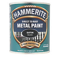 Hammerite Satin Metal Paint Black 750ml