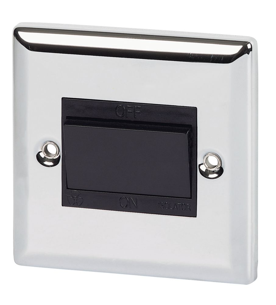 Volex 10A Fan Isolating Switch Blk Ins PC Angled Edge