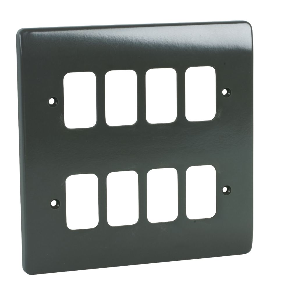 MK Grid Plus 8-Gang Front Plate Graphite