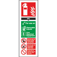 CO² Extinguisher ID Signs 280 x 90mm 100 Pack