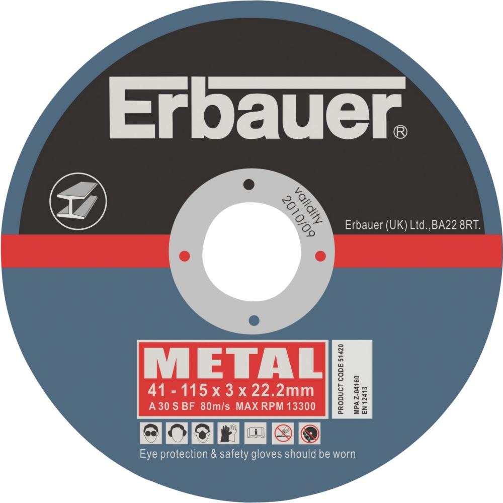 Erbauer Metal Cutting Discs 115 x 3 x 22.2mm Pack of 5