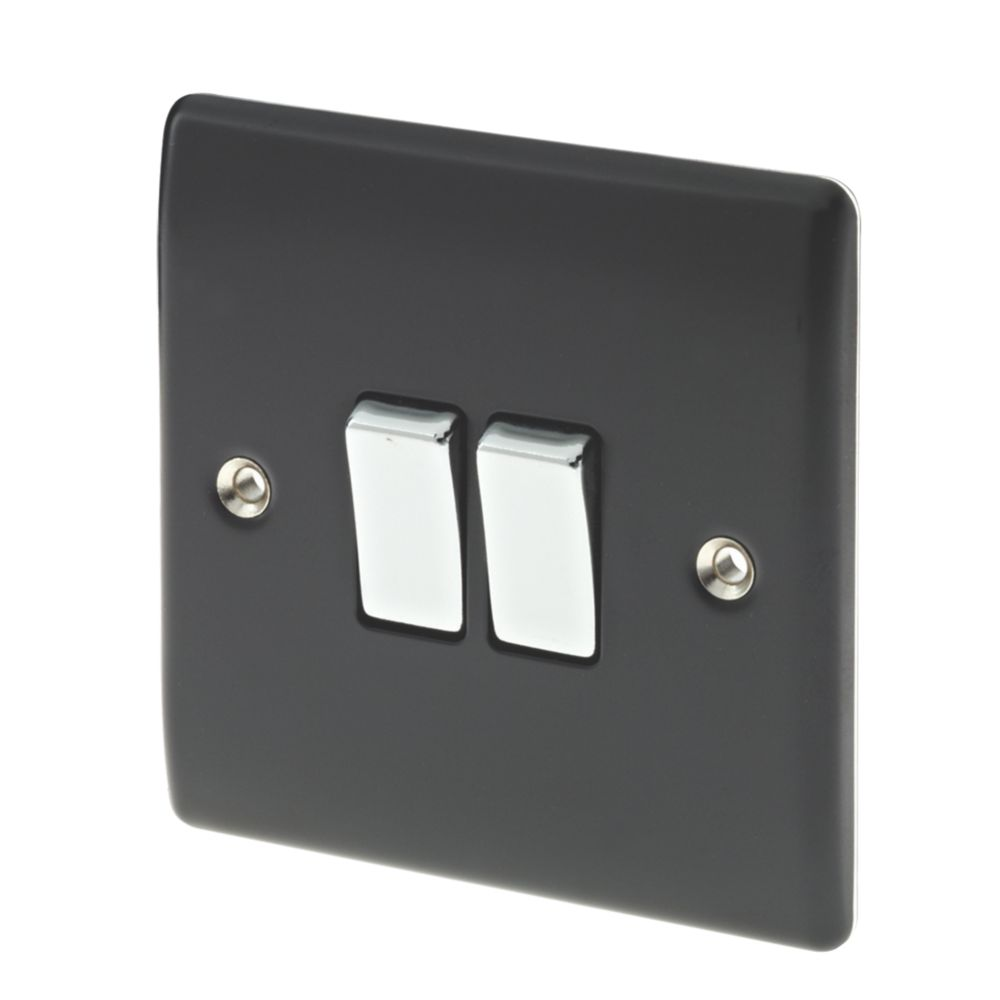 British General 2-Gang 2-Way 10AX Light Switch Matt Black