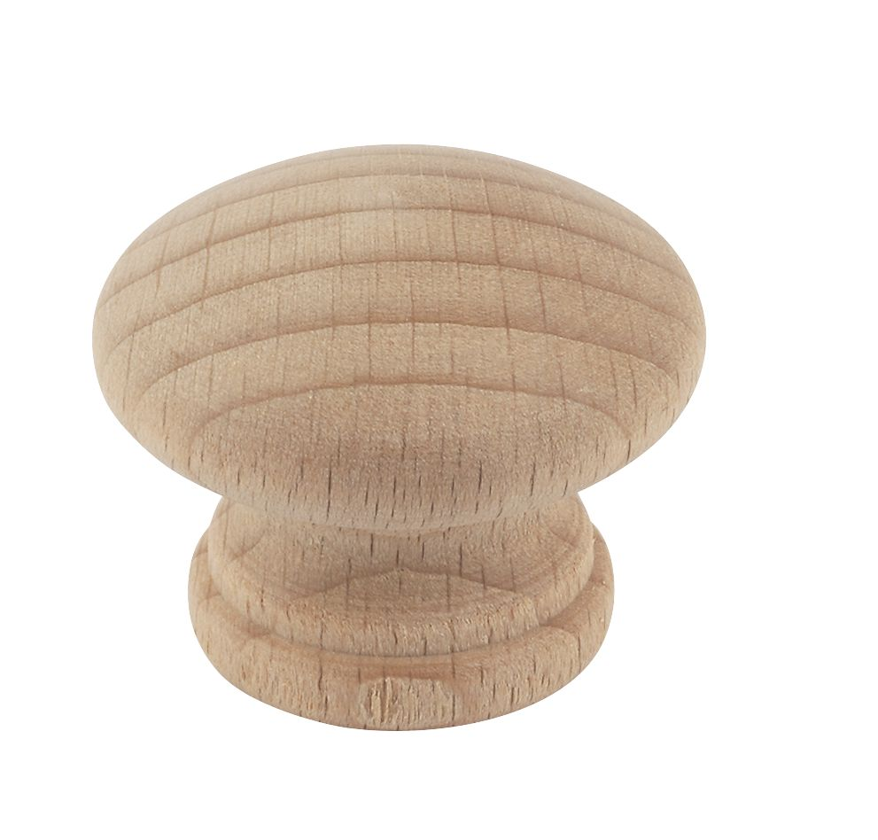 Traditional Cabinet Door Knob Plain Beech 30mm Pack of 2