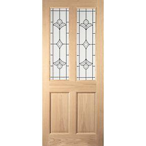 Jeld Wen Wetherby 2 Light Glazed Exterior Door Oak Veneer Non Handed White Oa