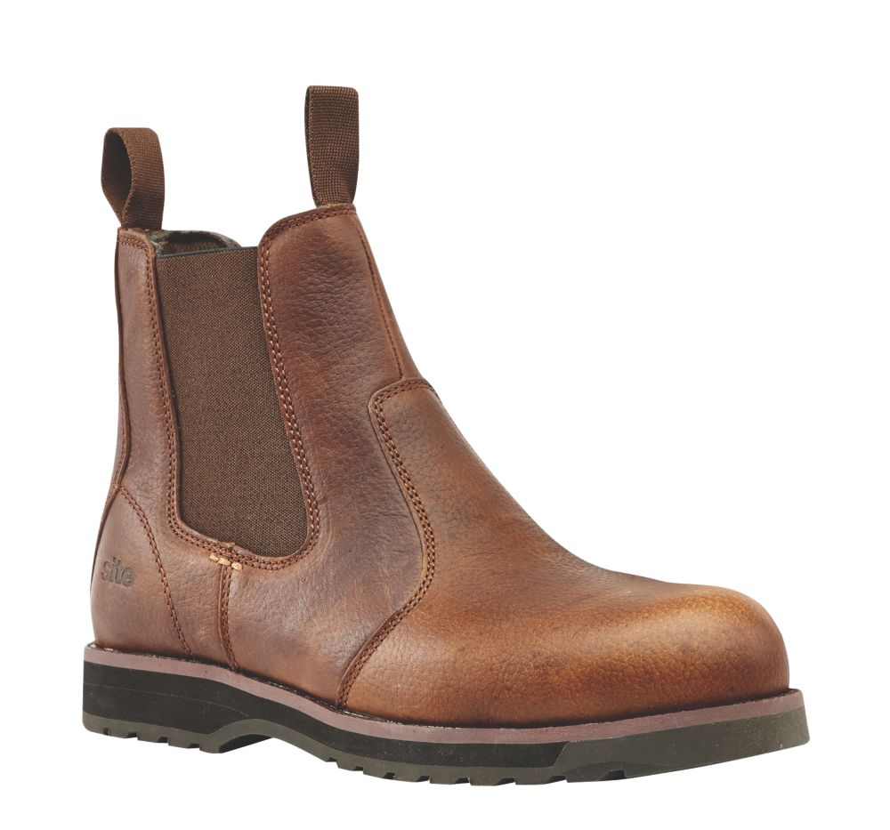 Site Topaz Chelsea Safety Boots Brown Size 8