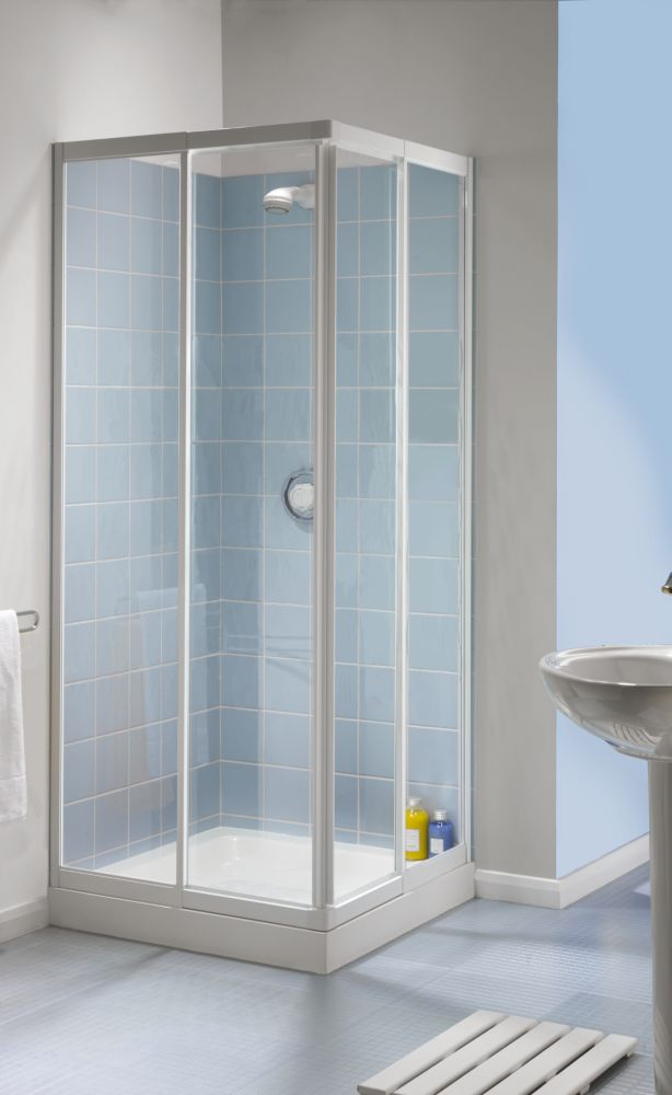 Aqualux White Telescopic Corner Entry Shower Enclosure 760-800 x 1850mm