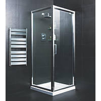 Moretti   Pivot Door Shower Enclosure  Silver 900 x 900 x 1850mm
