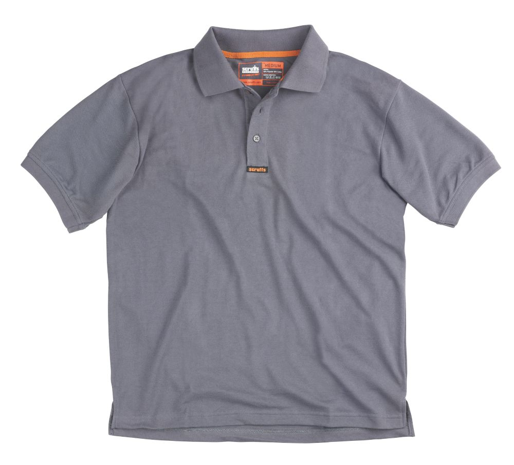 "Scruffs Worker Polo Shirt Grey Large 42-44"" Chest"