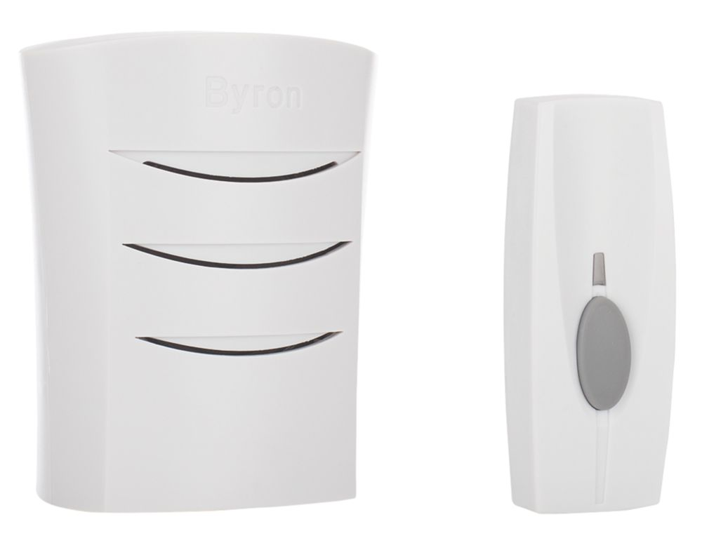 Wireless 60m Plug-In Door Chime with Li-Ion Powered Bell Push White