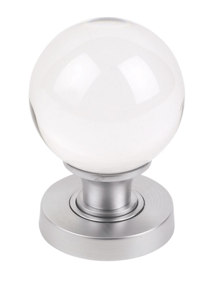 Jedo Glass Mortice Knobs Pair Satin Chrome
