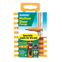 Plasplugs Hollow Door Fixings Yellow 3.5mm 20 Pack