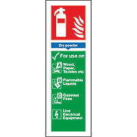 Dry Powder Extinguisher ID Signs 280 x 90mm 100 Pack