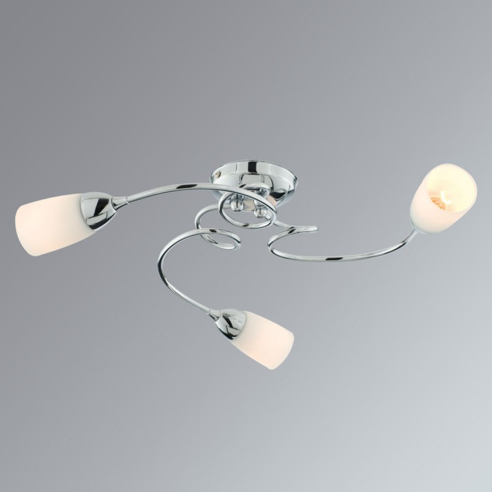 Lisa 3-Light Ceiling Light Chrome Effect Plate 560 x 250 x 250mm