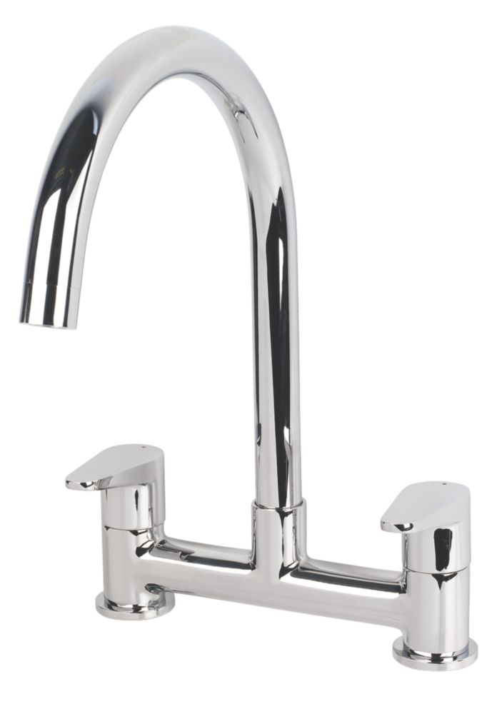 Swirl Rapture Bridge Deck Sink Mixer Kitchen Tap Chrome