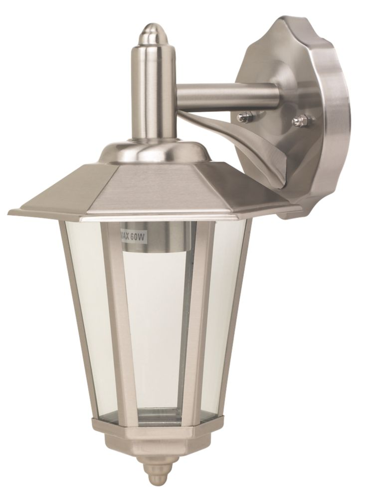 Screwfix Outdoor Wall Lights : 60W Stainless Steel Wall Lantern Hanging Outdoor Wall Lights Screwfix.com