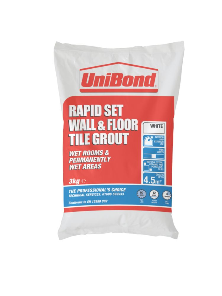 UniBond Wall & Floor Grout White 3kg