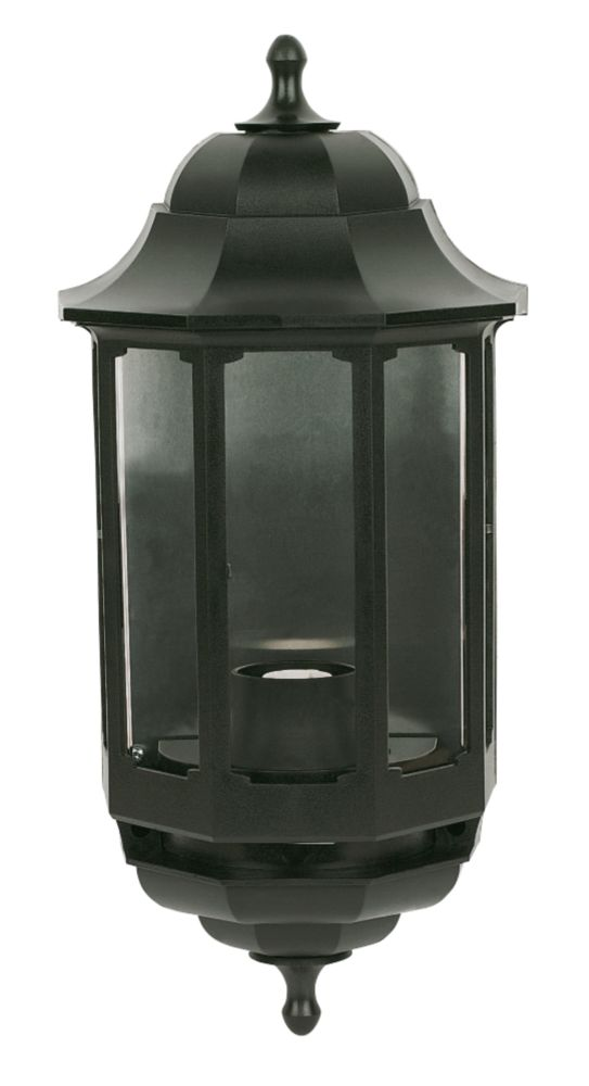 ASD Half 60W Black Lantern Wall Light Photocell Included
