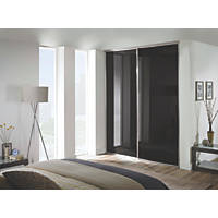 Spacepro 2 Door Framed Glass Sliding Wardrobe Doors Black 1803 x 2260mm 2 Pack
