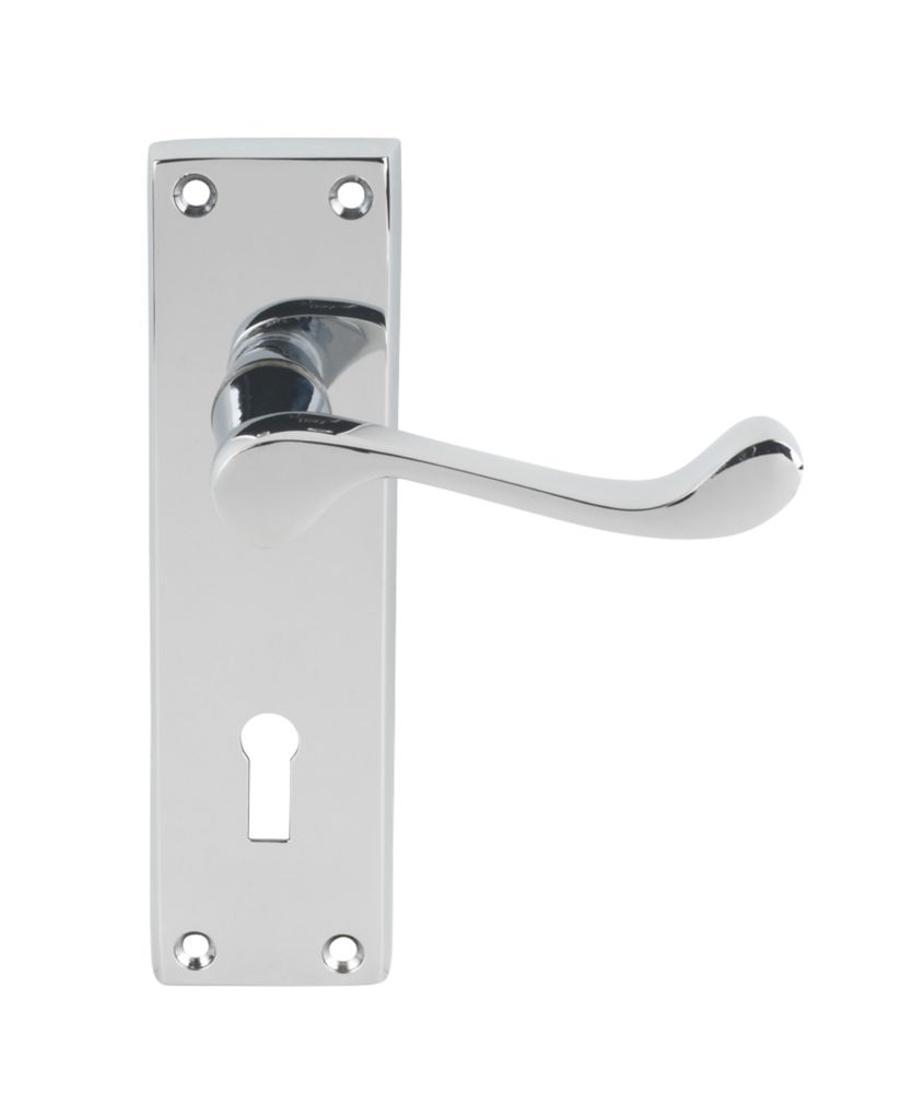 Carlisle Brass Victorian Scroll Lock Door Handle Polished Chrome