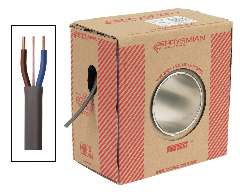 Prysmian 6242Y Twin & Earth Cable 6mm² x 50m Grey