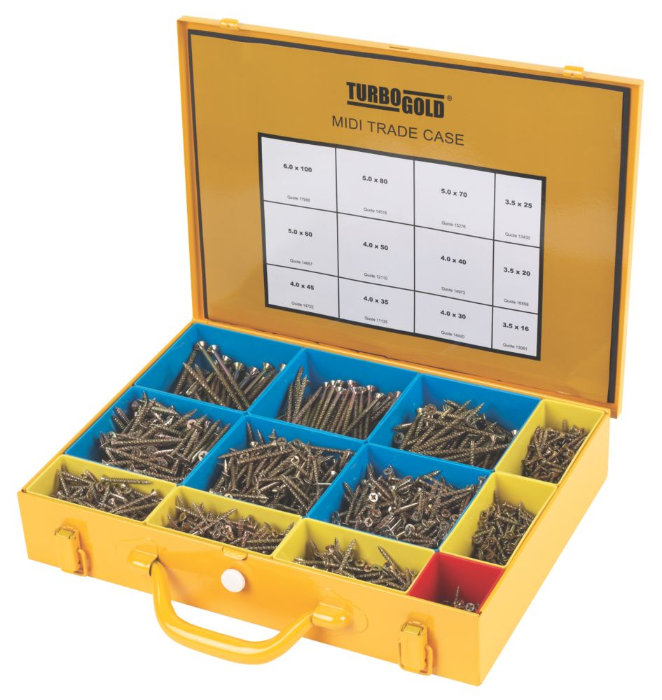 TurboGold Woodscrews Midi Trade Case 2000 Pieces