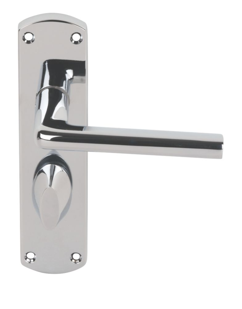 Serozzetta Uno Lever on Backplate WC Door Handles Pair Polished Chrome