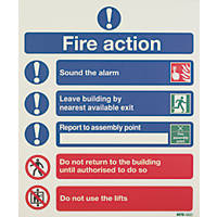 "Nite-Glo ""Fire Action Notice"" Sign 350 x 250mm"
